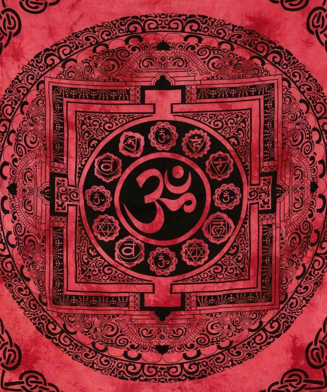 Om Wandtuch in rot, spiritueller Wandbehang aus Indien