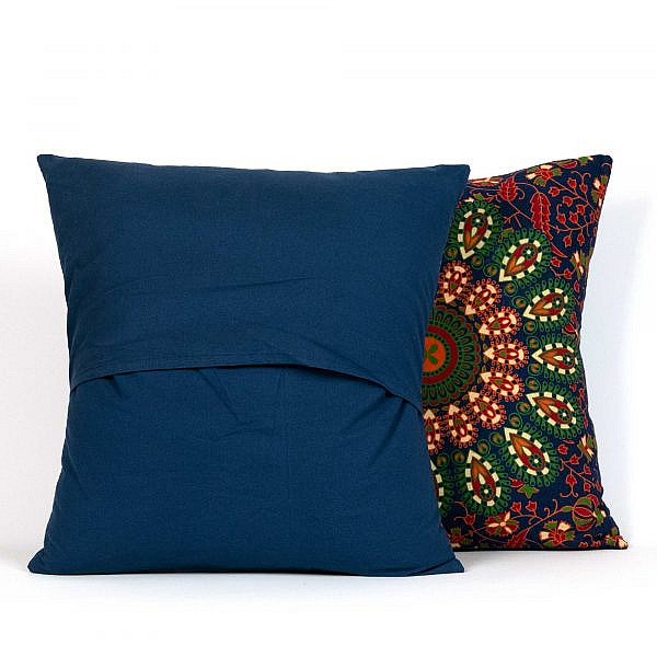 Mandala Kissen, Rückseite Unifarben blau