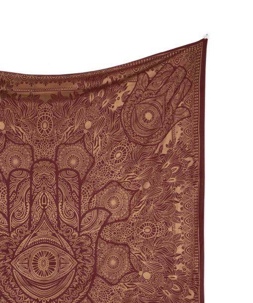 Gold Wandtuch Fatimas Hand weinrot groß ca. 210x230 cm Details