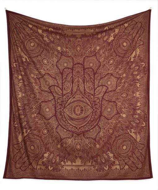 Gold Wandtuch Fatimas Hand weinrot groß ca. 210x230 cm frei
