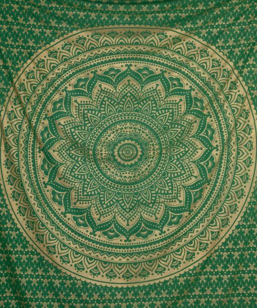 Gold Wandtuch Ombre Mandala grün groß ca. 210x230 cm Blütenmuster