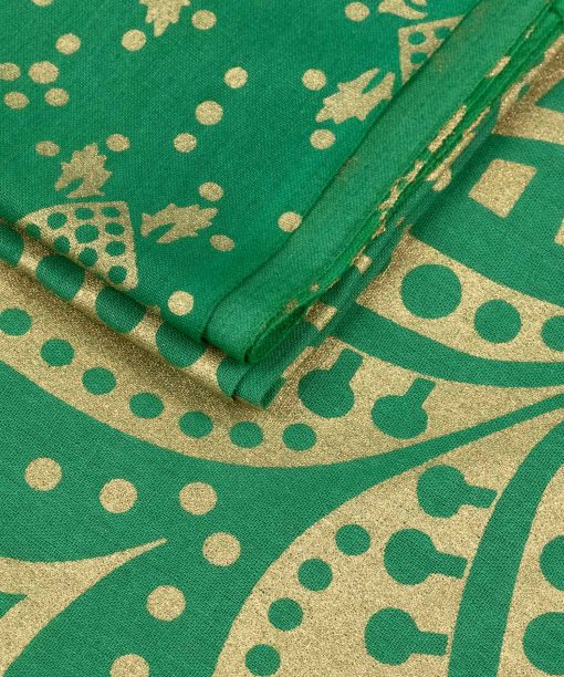 Gold Wandtuch Ombre Mandala grün groß ca. 210x230 cm Nahaufnahme Goldfarbe