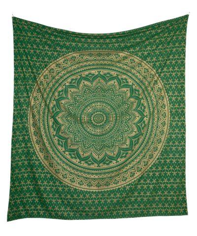 Gold Wandtuch Ombre Mandala grün groß ca. 210x230 cm frei