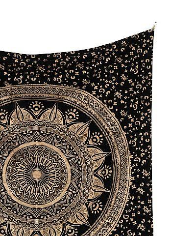 Wandtuch mit Gold Mandala auf schwarz
