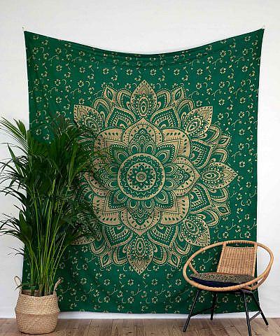 Wandtuch goldener Lotus in grün groß ca. 210x230 cm