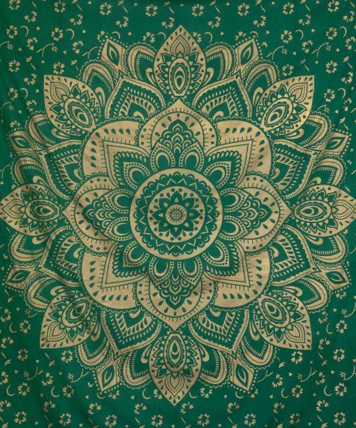 Wandtuch goldener Lotus in grün groß ca. 210x230 cm Blüte