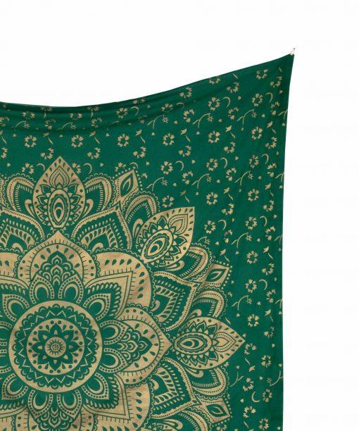 Wandtuch goldener Lotus in grün groß ca. 210x230 cm Detail