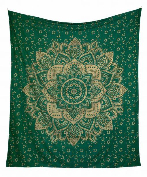 Wandtuch goldener Lotus in grün groß ca. 210x230 cm frei