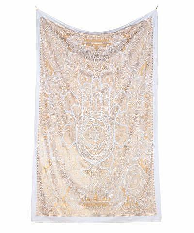 Gold Wandtuch Fatimas Hand weiß in medium