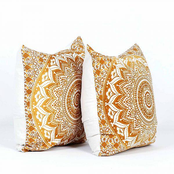Mandala Kissen Ombre ocker braun 40x40 cm, Set 2 Stück