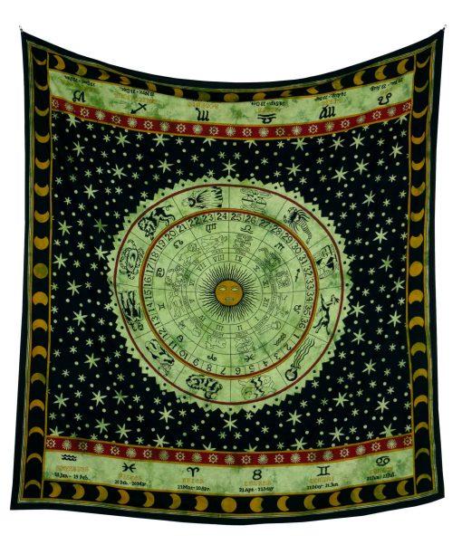 Wandtuch mit Sternzeichen in schwarz grün - Groß