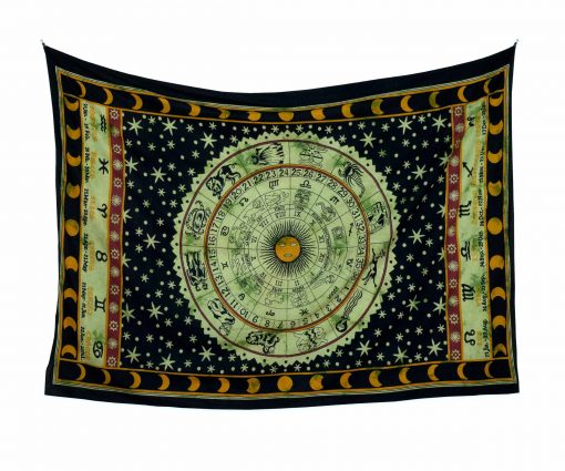 Wandtuch mit Sternzeichen in schwarz grün - medium