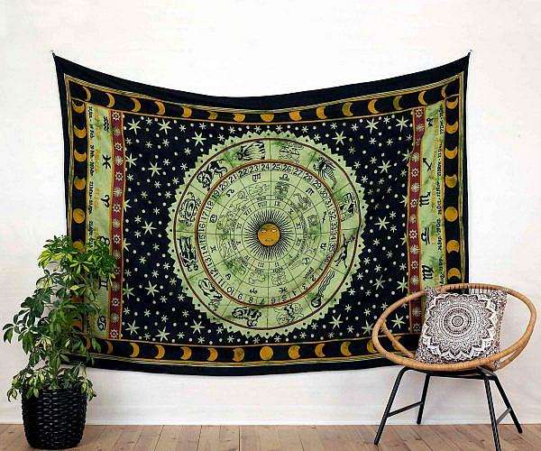 Goa Wandtuch Sternzeichen Horoskop grün schwarz - medium