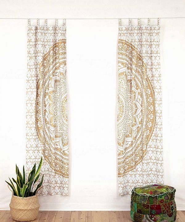 Vorhang Ombre Mandala weiß gold offen