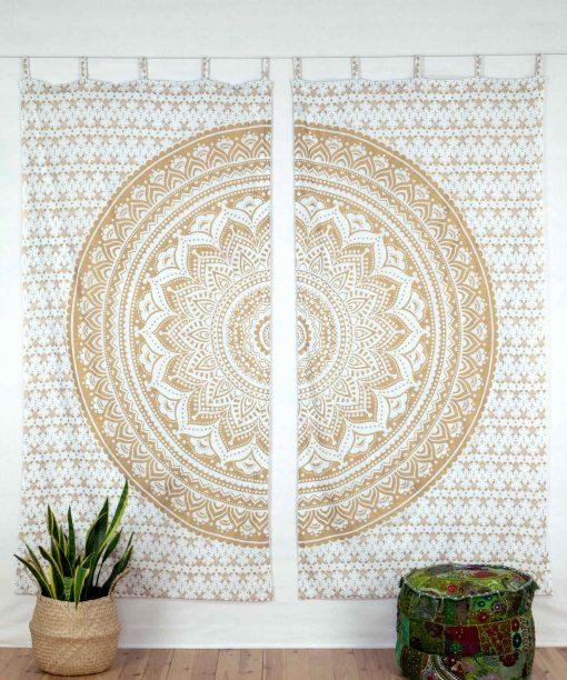 Vorhang Ombre Mandala weiß gold geschlossen