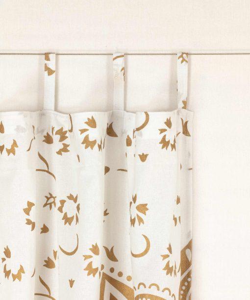 Vorhang goldener Lotus weiß Schlaufen