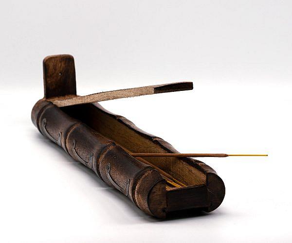 Räucherstäbchen Halter Bambus mit Fach