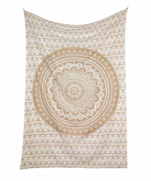 Gold Wandtuch Ombre Mandala weiß - medium ca. 140x220 cm