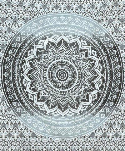Wandtuch Ombre Mandala schwarz grau - klein ca. 75x100 cm