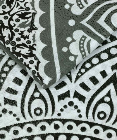 Wandtuch Ombre Mandala schwarz grau - medium Nahaufnahme
