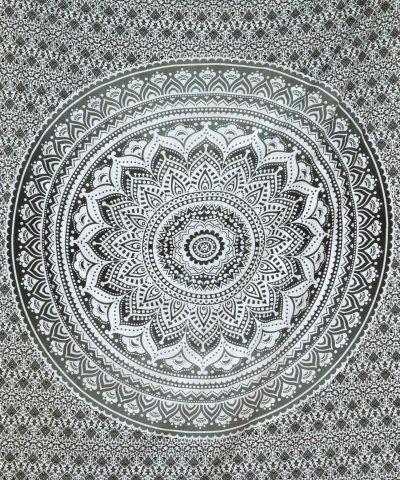Wandtuch Ombre Mandala schwarz grau - medium ca. 140x220 cm