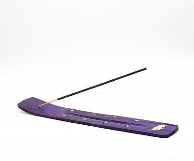 Halter für Räucherstäbchen aus Holz mit Elefant in lila