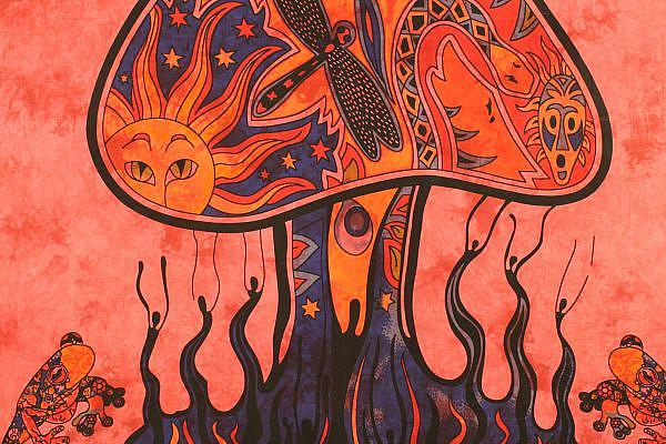 Goa Wandtuch mit Pilz Motiv in rot