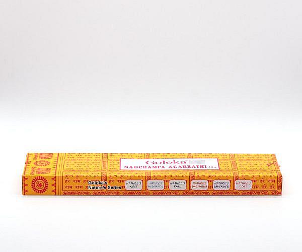 Räucherstäbchen Goloka Nag Champa Agarbathi 40 Gramm seitlich