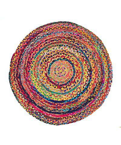 Flickenteppich rund, bunt mit Jute 120 cm