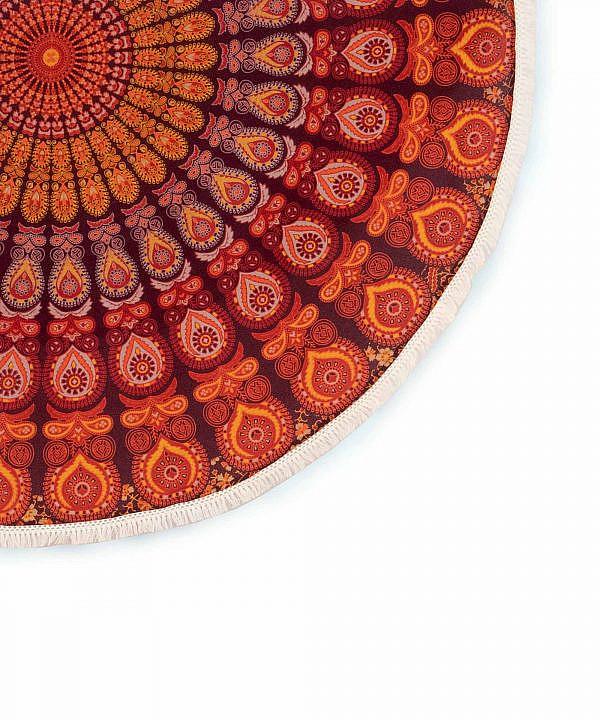 Strandtuch rund Pfauenfeder Mandala dunkelrot orange ca. 185 cm