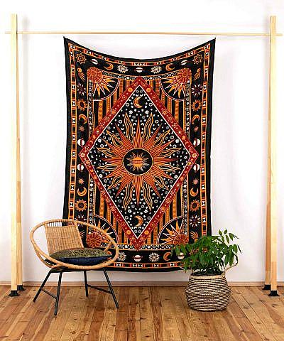 Wandtuch Astro schwarz orange - medium ca. 220x140 cm
