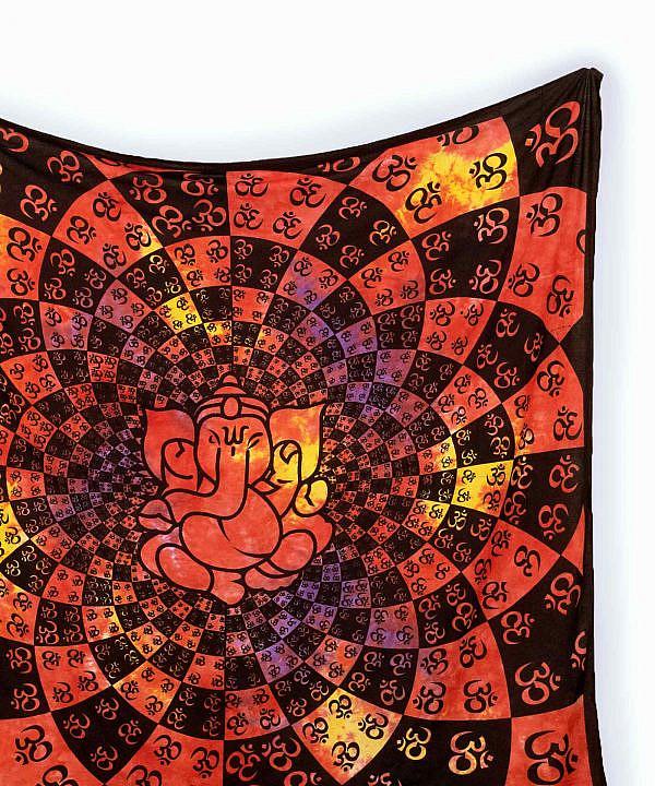Wandtuch Ganesha Ohm Zeichen rot gelb groß ca. 210x230 cm