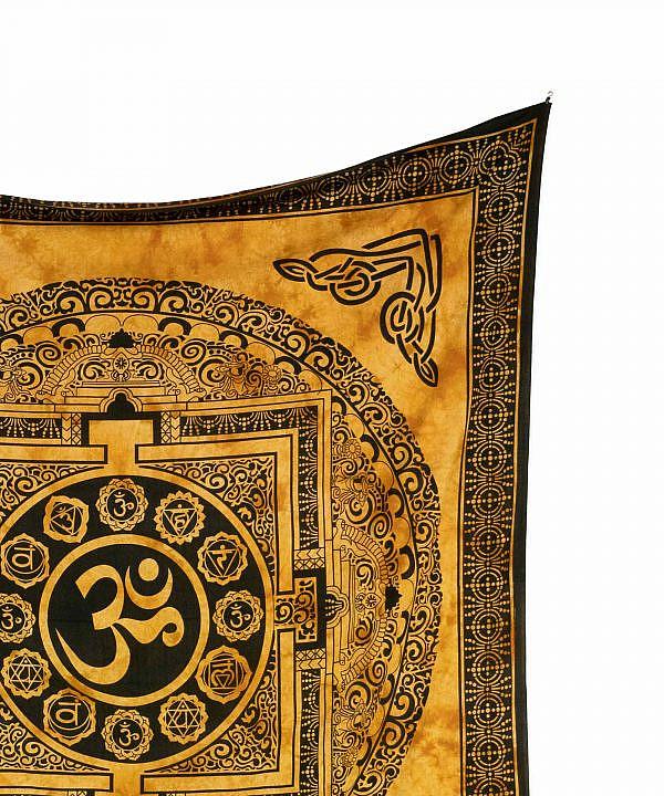 Wandtuch Ohm Zeichen batik gelb - groß