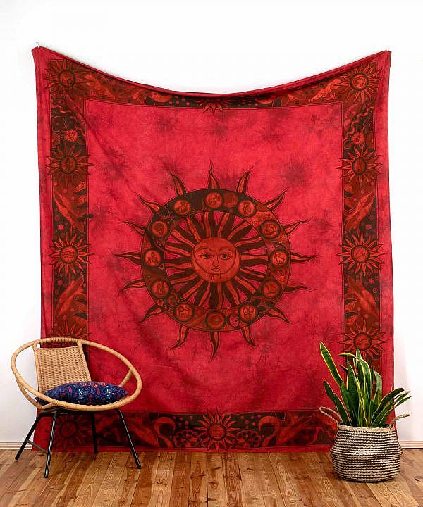Wandtuch Sonne Mond Sternzeichen batik rot - groß 210x230 cm