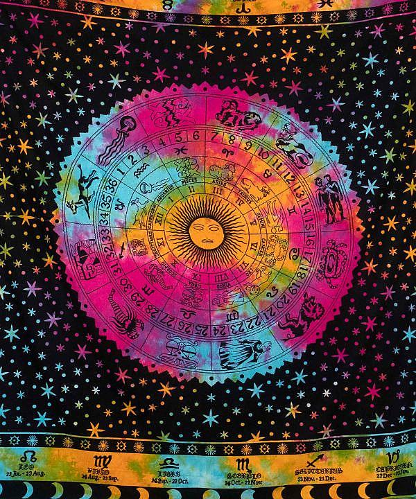 Wandtuch Sternzeichen Astro Tierzeichen Kalender batik bunt - groß 210x23 cm