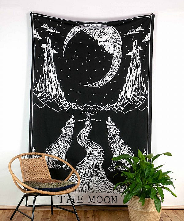 Wandtuch The Moon schwarz weiß - medium