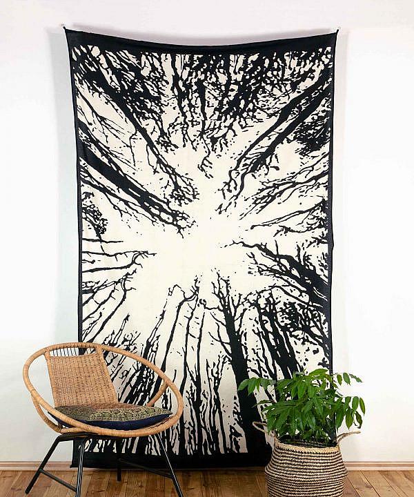 Wandtuch Wald schwarz weiß - medium