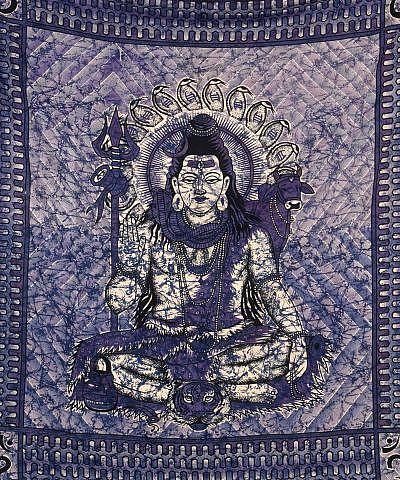 Wandtuch mit Hindugott Shiva in lila schwarz - groß 210x230 cm