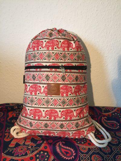 T-Bags Thailand Turnbeutel mit Elefanten in rot