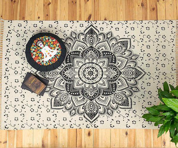 Mandala Teppich Lotusblüte schwarz - groß ca. 120x200 cm