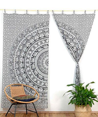 Vorhang Elefanten Mandala schwarz weiß ca. 210x230 cm mit Schlaufen