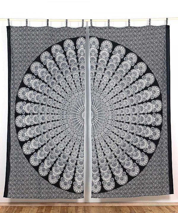 Vorhang Pfauenfeder Mandala schwarz weiß ca. 210x230 cm