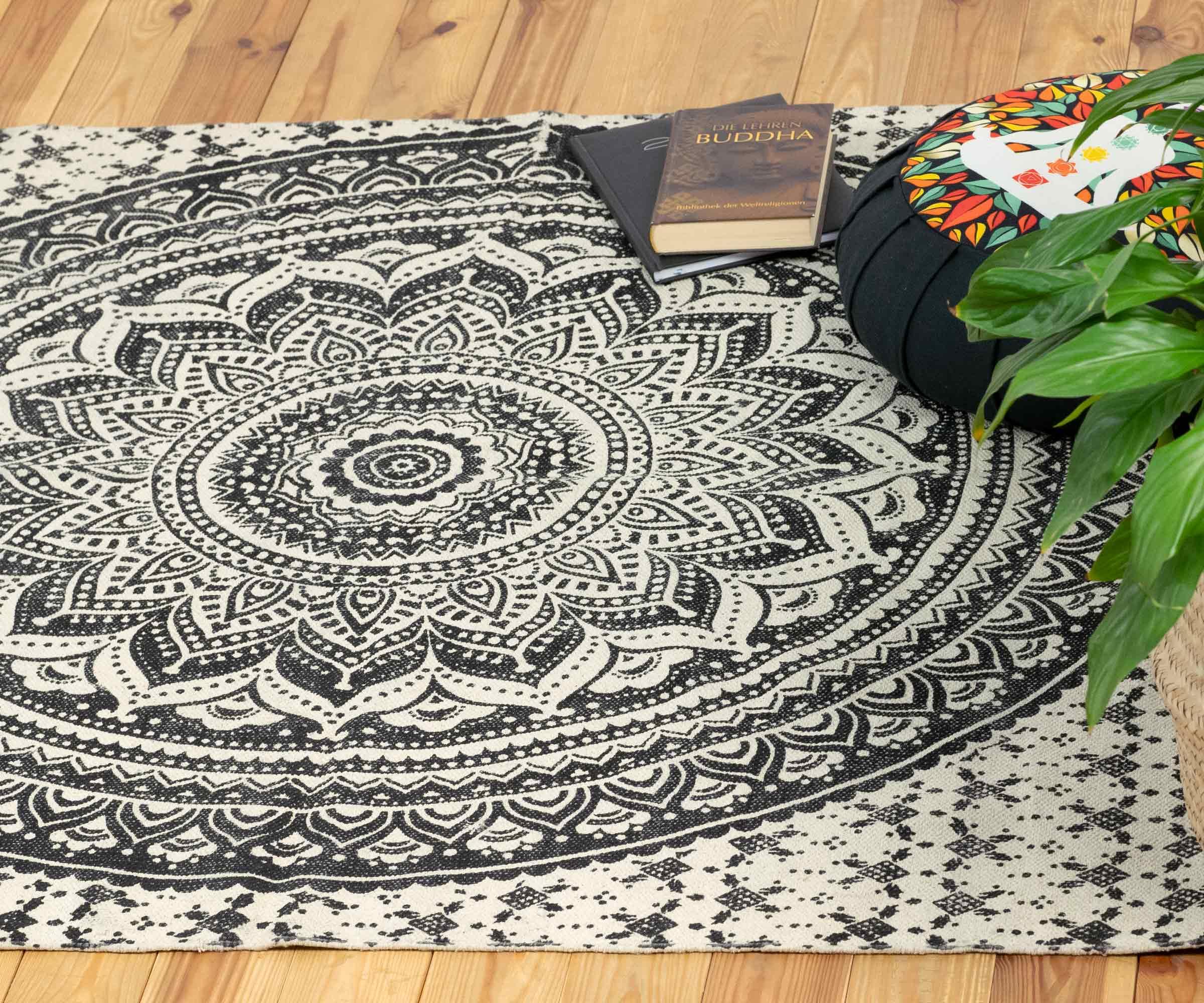 Yoga Teppich Ombre Mandala Schwarz Gross Karmandala Teppiche