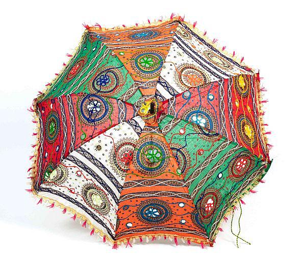 Bunter Sonnenschirm aus Baumwolle Ø 70 cm