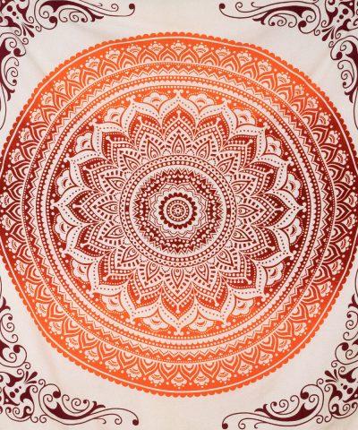 Indische Tagesdecke mit Ombre Mandala in orange ca. 220x240 cm