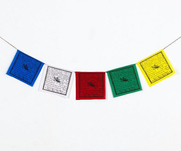 Tibetische Gebetsfahnen aus Baumwolle klein ca. 13x13 cm, fünf Fahnen in ca. 80 cm