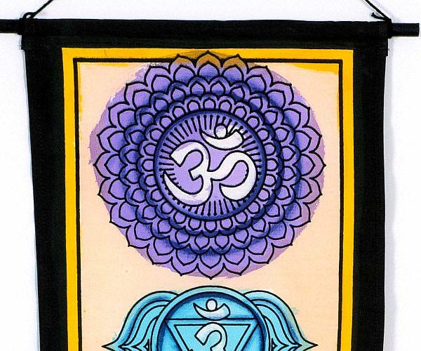 Wandbehang 7 Chakren - Kronenchakra Sahasrara Lila