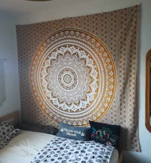 Wandtuch Ombre Mandala Ocker braun - groß ca. 230x210 cm