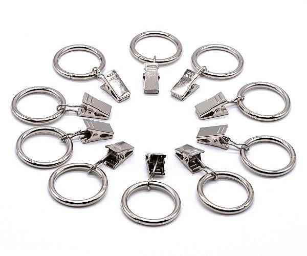 Gardinenklammern mit Ring silber 10 Stück