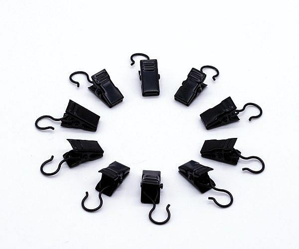 Gardinenklammern schwarz mit Haken 10 Stück